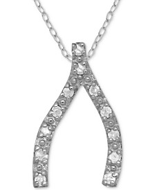 "Diamond Wishbone 18"" Pendant Necklace (1/10 ct. t.w.) in Sterling Silver"