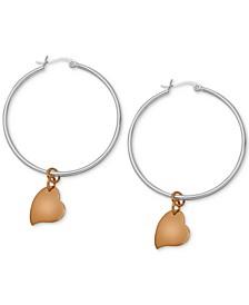 Heart Dangle Two-Tone Medium Hoop Earrings  in Silver- & Rose Gold-Plate