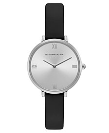 BCBG MaxAzria Ladies Black Strap Watch with Silver Dial, 34MM