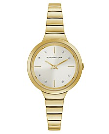 Ladies GoldTone Bracelet Watch with Silver Dial, 34mm