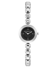 BCBGMAXAZRIA Ladies Stainless Steel Bracelet Watch with Black Dial, 20mm