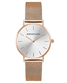 BCBG MaxAzria Ladies Rose GoldTone Mesh Bracelet with Silver Dial, 36MM