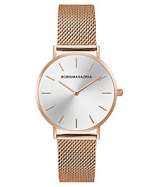 BCBGMAXAZRIA Ladies Rose GoldTone Mesh Bracelet with Silver Dial, 36mm