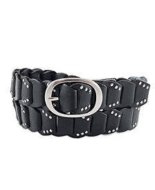 Fashion Focus Accessories Studded Ladder Braid Leather Belt