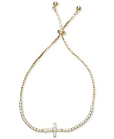Cubic Zirconia East West Cross Bolo Bracelet in Sterling Silver