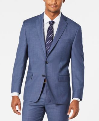 Men's Classic-Fit Airsoft Stretch Light Blue/Navy Birdseye Suit Jacket