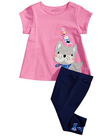 First Impressions Baby Girls Frenchie-Print T-Shirt & Bow-Detail Carpi Leggings, Created for Macy's