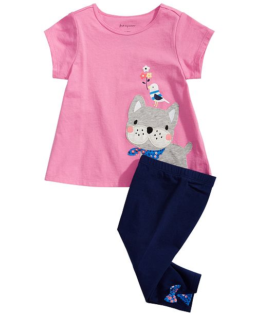 16b9817c1 First Impressions Toddler Girls Frenchie-Print T-Shirt & Bow-Detail Carpi  Leggings