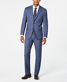Men's Classic-Fit Airsoft Stretch Light Blue/Navy Birdseye Suit Separates