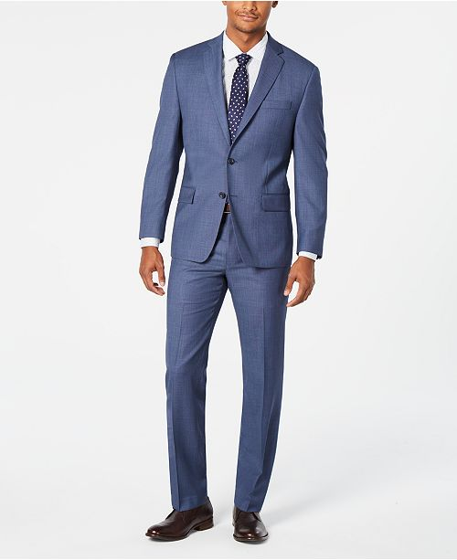 4bfe365afad9 ... Michael Kors Men's Classic-Fit Airsoft Stretch Light Blue/Navy Birdseye  Suit Separates ...