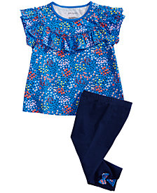 First Impressions Baby Girls Floral-Print Ruffle Top & Bow-Detail Capri Leggings, Created for Macy's