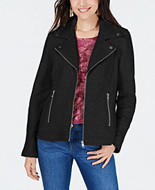 Style & Co Petite French-Terry Moto Jacket, Created for Macy's
