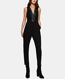 BCBGeneration Faux-Leather-Trim Tuxedo Jumpsuit