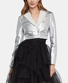 BCBGMAXAZRIA Metallic Double-Breasted Cropped Jacket