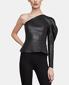 BCBGMAXAZRIA Lillyan One-Shoulder Faux-Leather Top