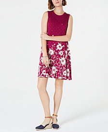Style & Co Petite Printed Trapeze Dress, Created for Macy's