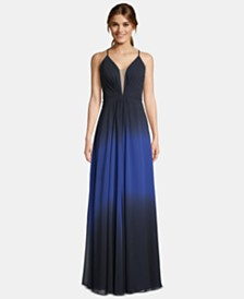 Betsy & Adam Lace-Up Ombré Gown
