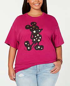 Mad Engine Trendy Plus Size Cotton Mickey Mouse Graphic-Print T-Shirt