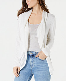 Style & Co Petite Pointelle-Trim Cutaway Cardigan, Created for Macy's
