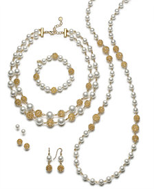 Charter Club Gold-Tone Textured & Imitation Pearl Jewelry Separates, Created for Macy's