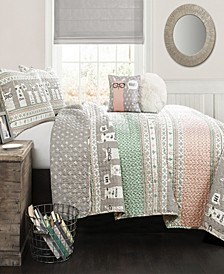 Llama Stripe 5-Pc Set Full/Queen Quilt Set