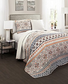 Nesco Stripe  3-Pc Set Full/Queen Quilt Set