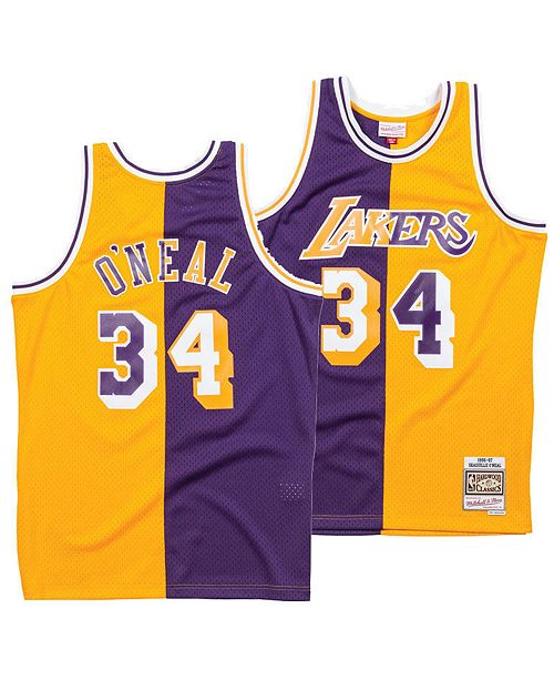 0b137a59b ... Mitchell   Ness Men s Shaquille O Neal Los Angeles Lakers Split Swingman  Jersey ...