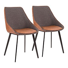 Marche TwoTone Chair in Faux Leather and Fabric Set of 2