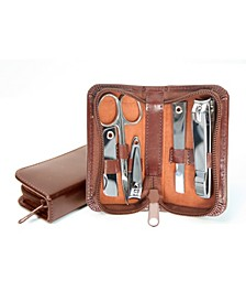 Royce Executive Chrome Plated Mini Manicure Kit in Leather