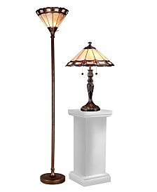 Dale Tiffany Peacock Tiffany Torchiere And Table Lamp Set