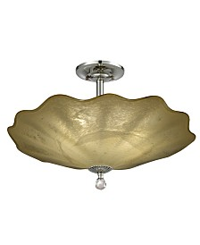 "Dale Tiffany Beige Feather 20""D Hand Blown Art Glass Semi Flush Mount"