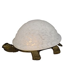 Turtle White Glass Accent Lamp