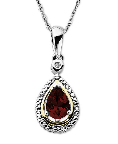 14k Gold and Sterling Silver Necklace, Garnet (9/10 ct. t.w.) and Diamond Accent Teardrop Pendant