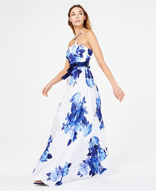 ec08fefe197 Teeze Me Juniors  Belted Floral-Print Strapless Gown   Reviews ...