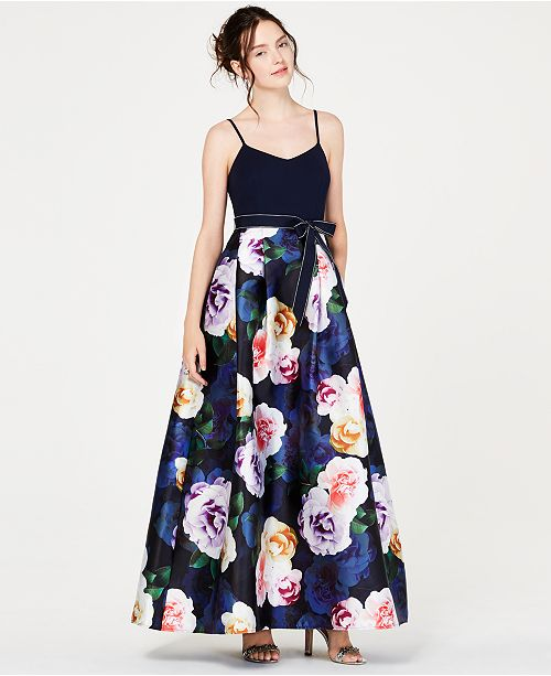 a988802f788 ... Teeze Me Juniors  Solid-Top Floral-Skirt Gown