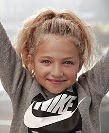 Nike Little Girls Futura Logo-Print Fleece Sweatshirt