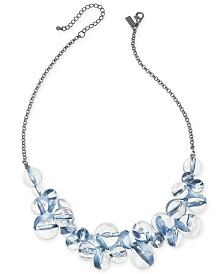 "I.N.C. Hematite-Tone Clear-Bead Necklace, 21"" + 3"" Extender, Created for Macy's"