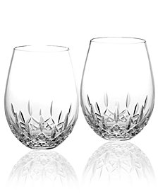 Waterford Stemware Lismore Nouveau Stemless Deep Red Wine Glasses, Set of 2