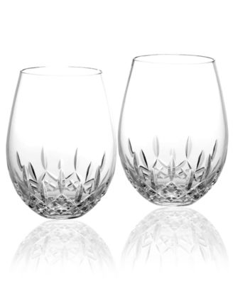 waterford stemware lismore nouveau stemless deep red wine glasses set of 2 - Stemless Martini Glasses