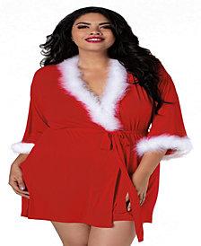 Plus Size Santa Themed Knit Wrap Robe
