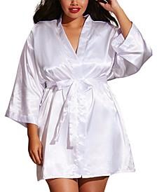 Plus Size Satin Robe & Chemise Set