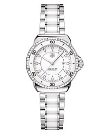 TAG Heuer Women's Swiss Formula 1 Diamond (1/3 ct. t.w.) Stainless Steel and White Ceramic Bracelet Watch 32mm