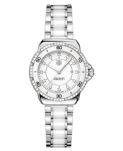 TAG Heuer Women's Swiss Formula 1 Diamond (1/3 ct. t.w.) Stainless Steel and White Ceramic Bracelet Watch 32mm WAH1313.BA0868