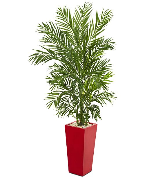 Nearly Natural 5.5' Areca Palm Artificial Tree in Red Planter