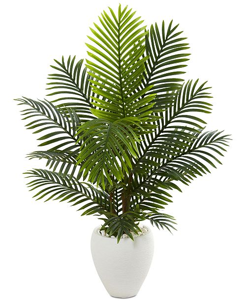 Nearly Natural 4.5' Paradise Palm Artificial Tree in White Planter