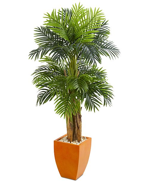 Nearly Natural 5.5' Triple Areca Palm Artificial Tree in Orange Planter