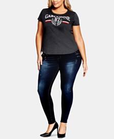 City Chic Trendy Plus Size Cotton Embellished T-Shirt