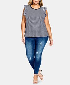 City Chic Trendy Plus Size Cotton Frill-Shoulder Top