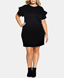 City Chic Trendy Plus Size Ruffle-Sleeve Tunic Dress