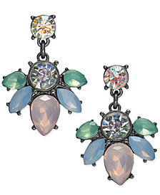 I.N.C. Hematite-Tone Crystal & Stone Drop Earrings, Created for Macy's